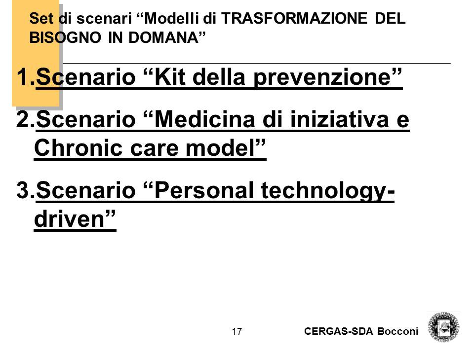 """CERGAS-SDA Bocconi 17 Set di scenari """"Modelli di TRASFORMAZIONE DEL BISOGNO IN DOMANA"""" 1.Scenario """"Kit della prevenzione"""" 2.Scenario """"Medicina di iniz"""