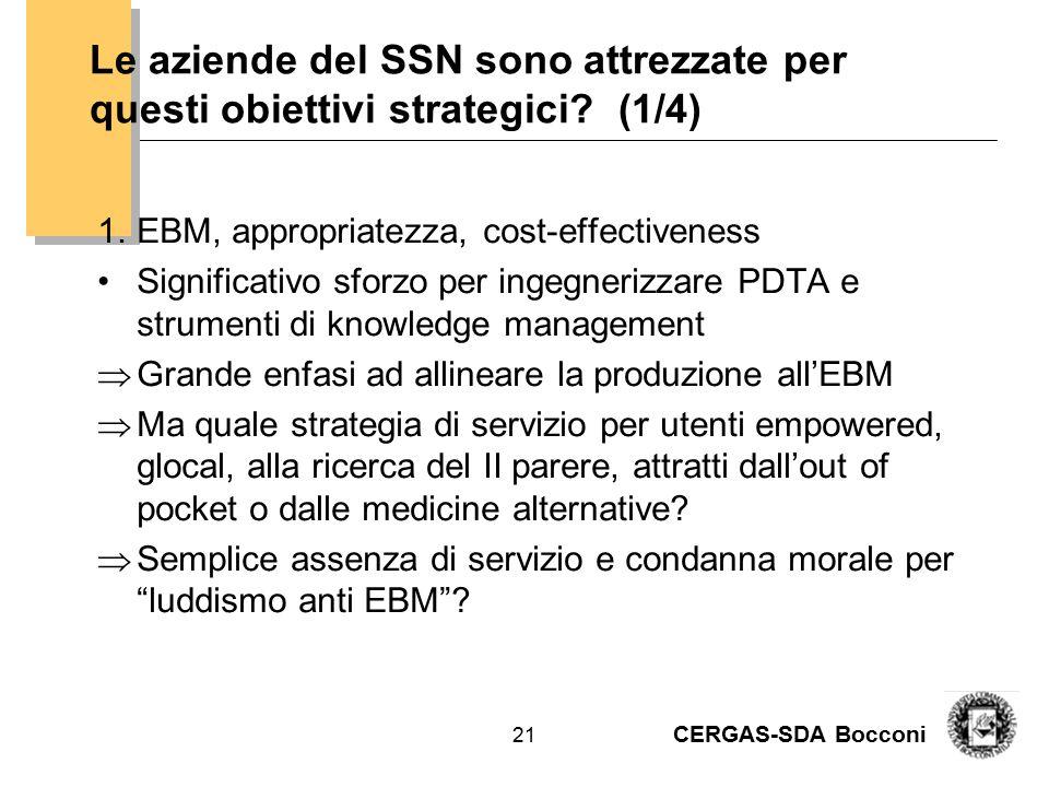 CERGAS-SDA Bocconi 21 Le aziende del SSN sono attrezzate per questi obiettivi strategici? (1/4) 1.EBM, appropriatezza, cost-effectiveness Significativ