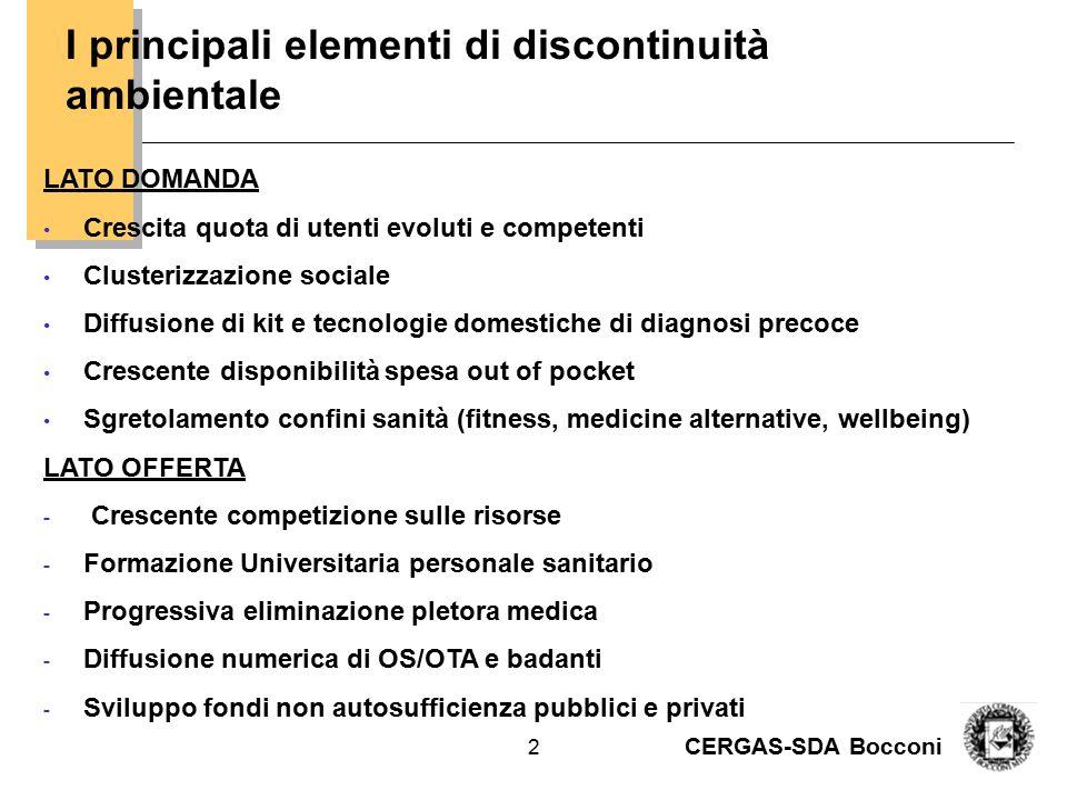 CERGAS-SDA Bocconi 2 I principali elementi di discontinuità ambientale LATO DOMANDA Crescita quota di utenti evoluti e competenti Clusterizzazione soc