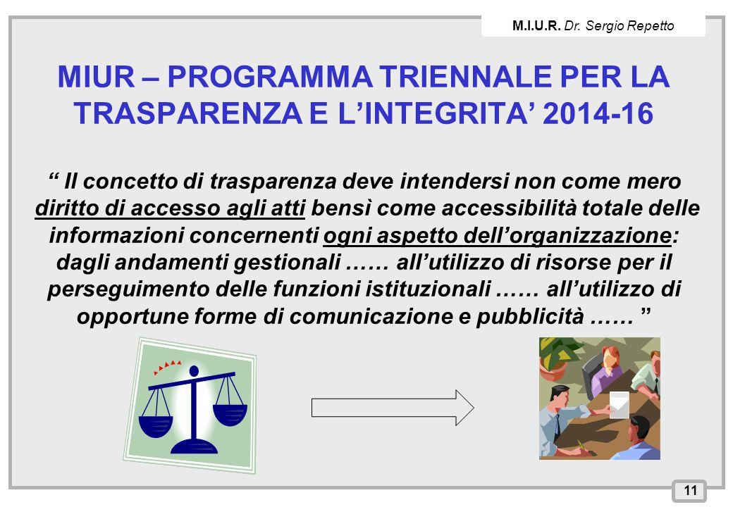 """INPS – Direzione Provinciale di Cagliari MIUR – PROGRAMMA TRIENNALE PER LA TRASPARENZA E L'INTEGRITA' 2014-16 """" Il concetto di trasparenza deve intend"""