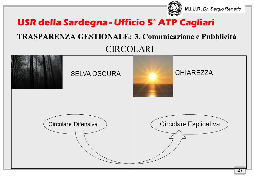 INPS – Direzione Provinciale di Cagliari 27 M.I.U.R. Dr. Sergio Repetto USR della Sardegna - Ufficio 5° ATP Cagliari TRASPARENZA GESTIONALE: 3. Comuni