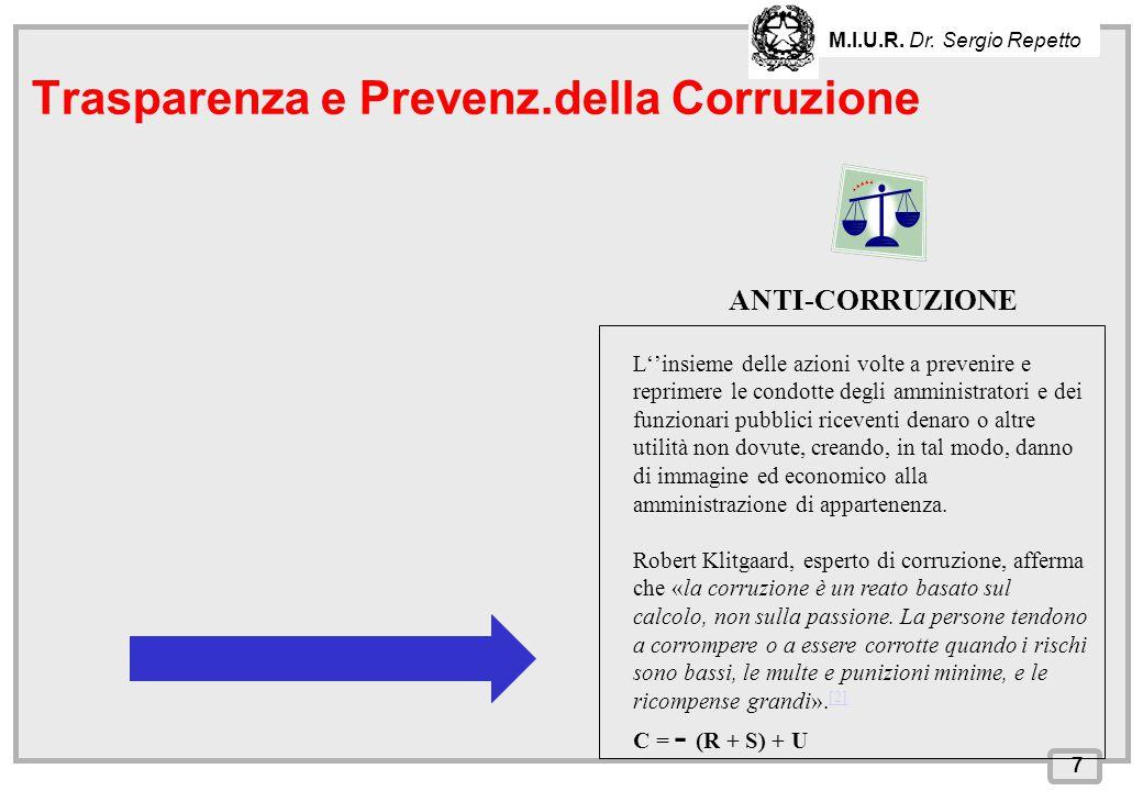 INPS – Direzione Provinciale di Cagliari ANTI-CORRUZIONE 7 Trasparenza e Prevenz.della Corruzione M.I.U.R. Dr. Sergio Repetto L''insieme delle azioni