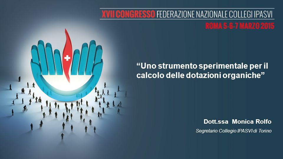 """""""Uno strumento sperimentale per il calcolo delle dotazioni organiche"""" Dott.ssa Monica Rolfo Segretario Collegio IPASVI di Torino"""