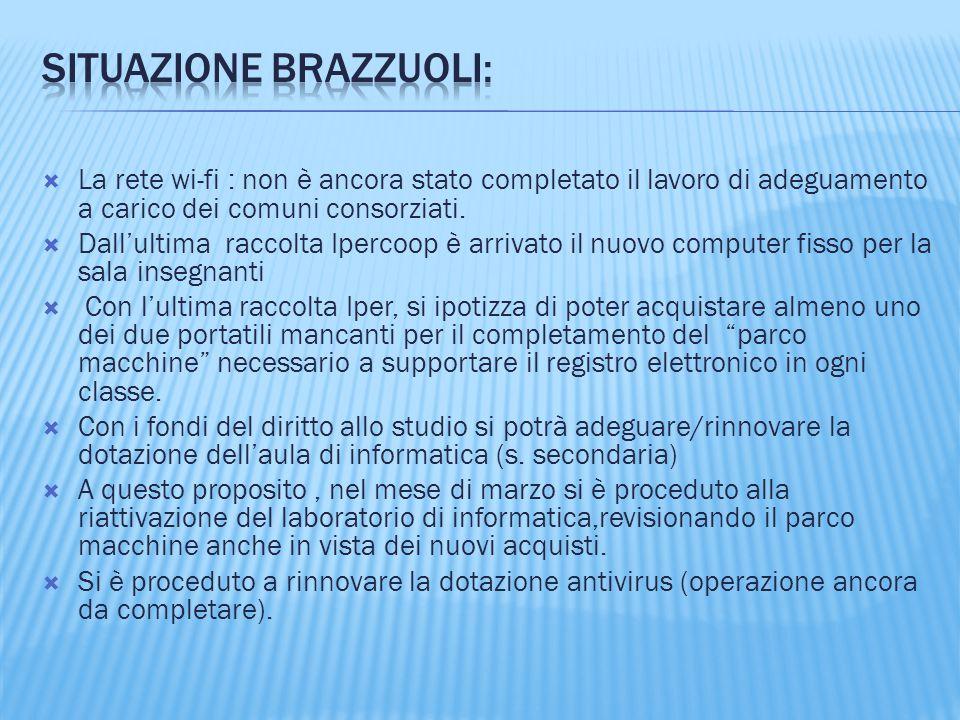  La rete wi-fi : non è ancora stato completato il lavoro di adeguamento a carico dei comuni consorziati.  Dall'ultima raccolta Ipercoop è arrivato i