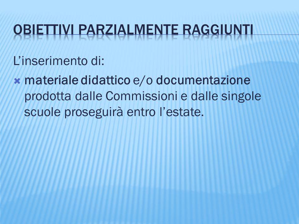 L'inserimento di:  materiale didattico e/o documentazione prodotta dalle Commissioni e dalle singole scuole proseguirà entro l'estate.