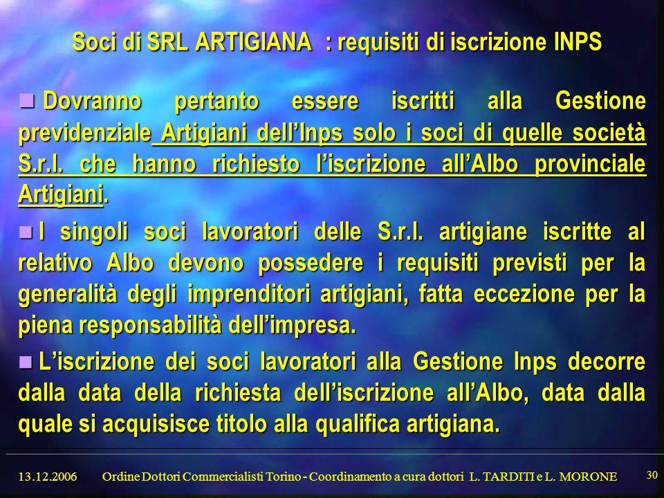 13.12.2006Ordine Dottori Commercialisti Torino - Coordinamento a cura dottori L.