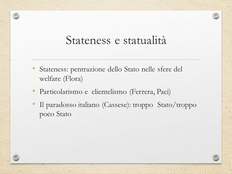 Stateness e statualità Stateness: pentrazione dello Stato nelle sfere del welfare (Flora) Particolarismo e clientelismo (Ferrera, Paci) Il paradosso italiano (Cassese): troppo Stato/troppo poco Stato