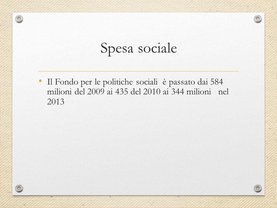 Spesa sociale Il Fondo per le politiche sociali è passato dai 584 milioni del 2009 ai 435 del 2010 ai 344 milioni nel 2013