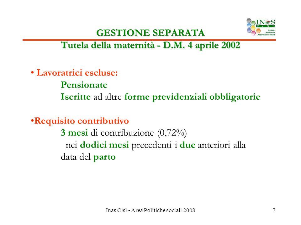 Inas Cisl - Area Politiche sociali 20087 GESTIONE SEPARATA Tutela della maternità - D.M.