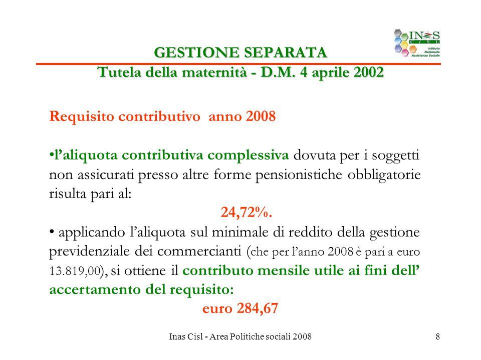 Inas Cisl - Area Politiche sociali 20088 GESTIONE SEPARATA Tutela della maternità - D.M.