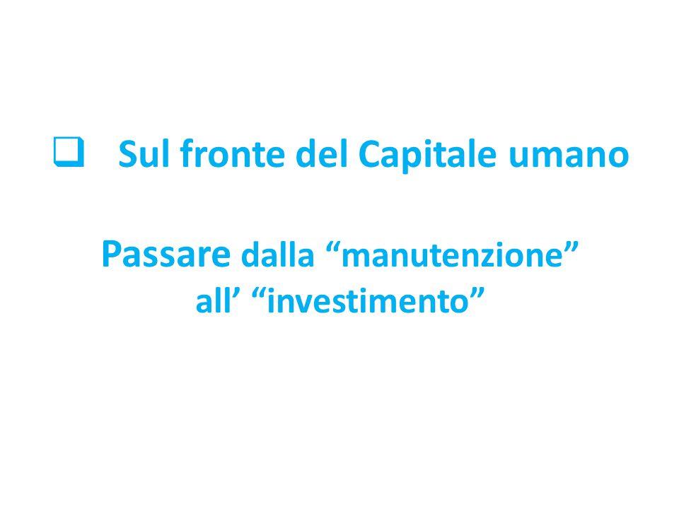 """ Sul fronte del Capitale umano Passare dalla """"manutenzione"""" all' """"investimento"""""""