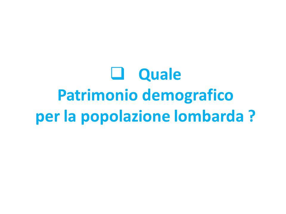  Quale Patrimonio demografico per la popolazione lombarda ?