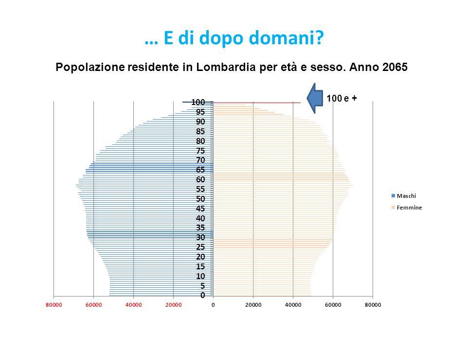 … E di dopo domani? Popolazione residente in Lombardia per età e sesso. Anno 2065 100 e +