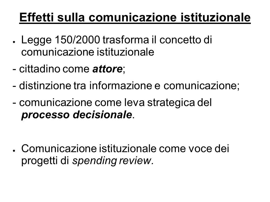 ● Legge 150/2000 trasforma il concetto di comunicazione istituzionale - cittadino come attore; - distinzione tra informazione e comunicazione; - comunicazione come leva strategica del processo decisionale.