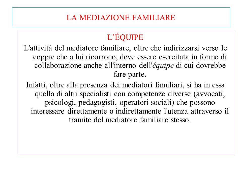 """LA MEDIAZIONE FAMILIARE In ogni caso il mediatore assume la """"rappresentanza"""" dei figli, nel senso che, richiama costantemente i genitori al loro inter"""