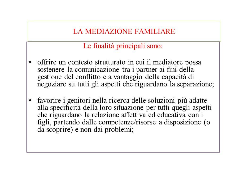 LA MEDIAZIONE FAMILIARE La mediazione familiare si occupa della riorganizzazione delle relazioni familiari, in special modo per quanto attiene all'ese