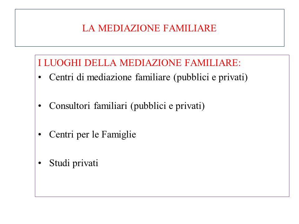 LA MEDIAZIONE FAMILIARE NON È né un arbitrato, né una consulenza familiare, né una terapia di coppia perché: nell'arbitrato, la terza parte neutrale p