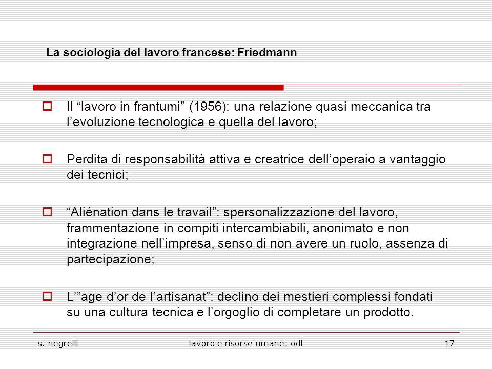 """s. negrellilavoro e risorse umane: odl17 La sociologia del lavoro francese: Friedmann  Il """"lavoro in frantumi"""" (1956): una relazione quasi meccanica"""