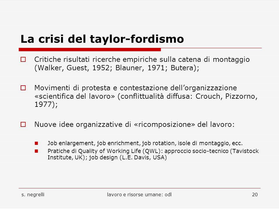 La crisi del taylor-fordismo  Critiche risultati ricerche empiriche sulla catena di montaggio (Walker, Guest, 1952; Blauner, 1971; Butera);  Movimen