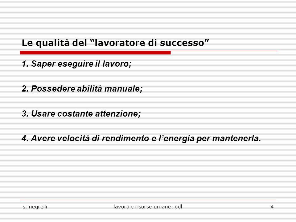 """s. negrellilavoro e risorse umane: odl4 Le qualità del """"lavoratore di successo"""" 1. Saper eseguire il lavoro; 2. Possedere abilità manuale; 3. Usare co"""