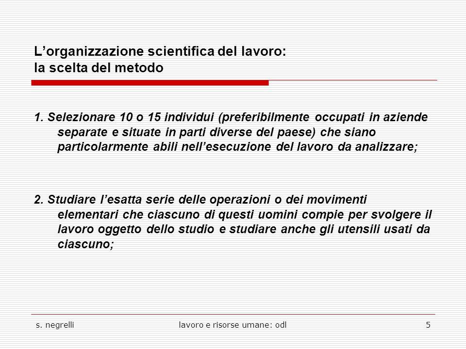 s. negrellilavoro e risorse umane: odl5 L'organizzazione scientifica del lavoro: la scelta del metodo 1. Selezionare 10 o 15 individui (preferibilment