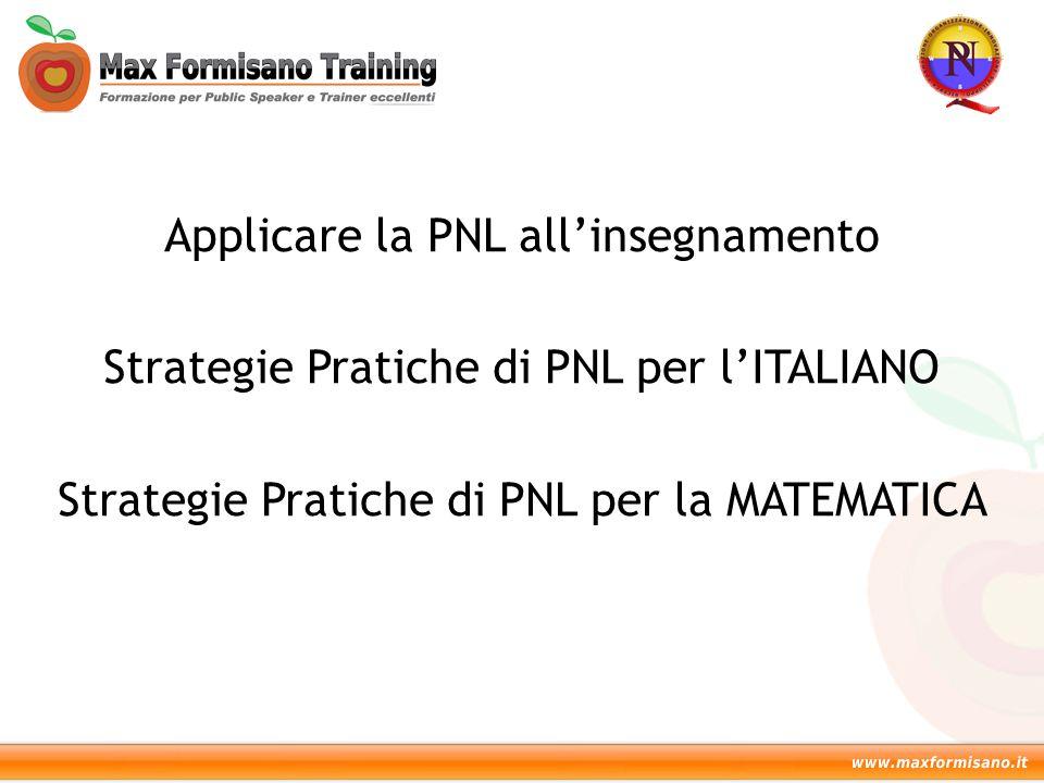 Applicare la PNL all'insegnamento Strategie Pratiche di PNL per l'ITALIANO Strategie Pratiche di PNL per la MATEMATICA
