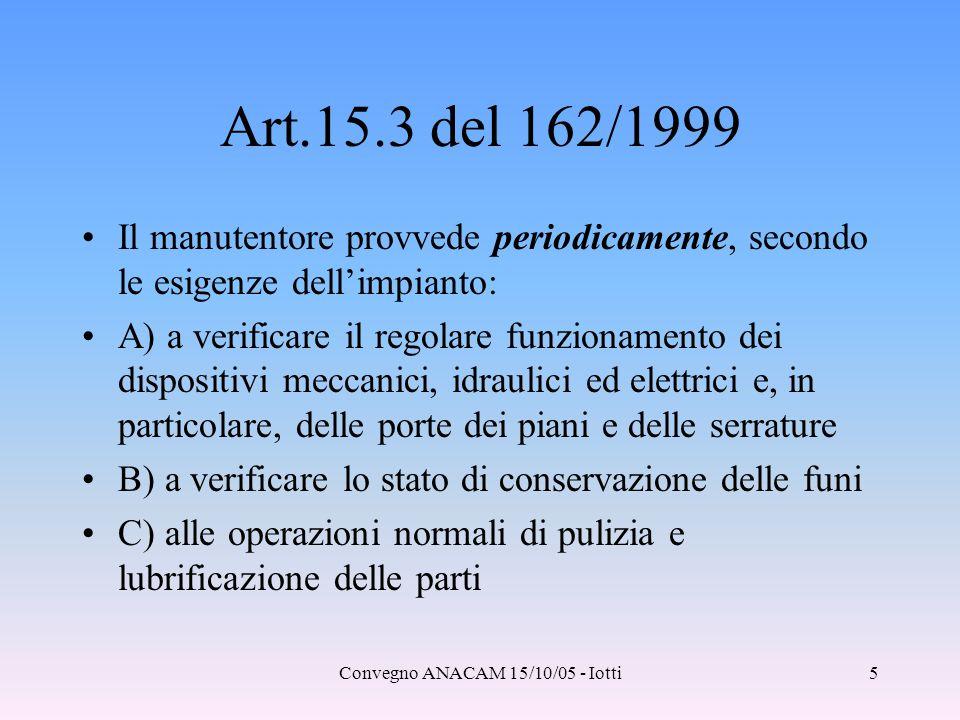 Convegno ANACAM 15/10/05 - Iotti5 Art.15.3 del 162/1999 Il manutentore provvede periodicamente, secondo le esigenze dell'impianto: A) a verificare il