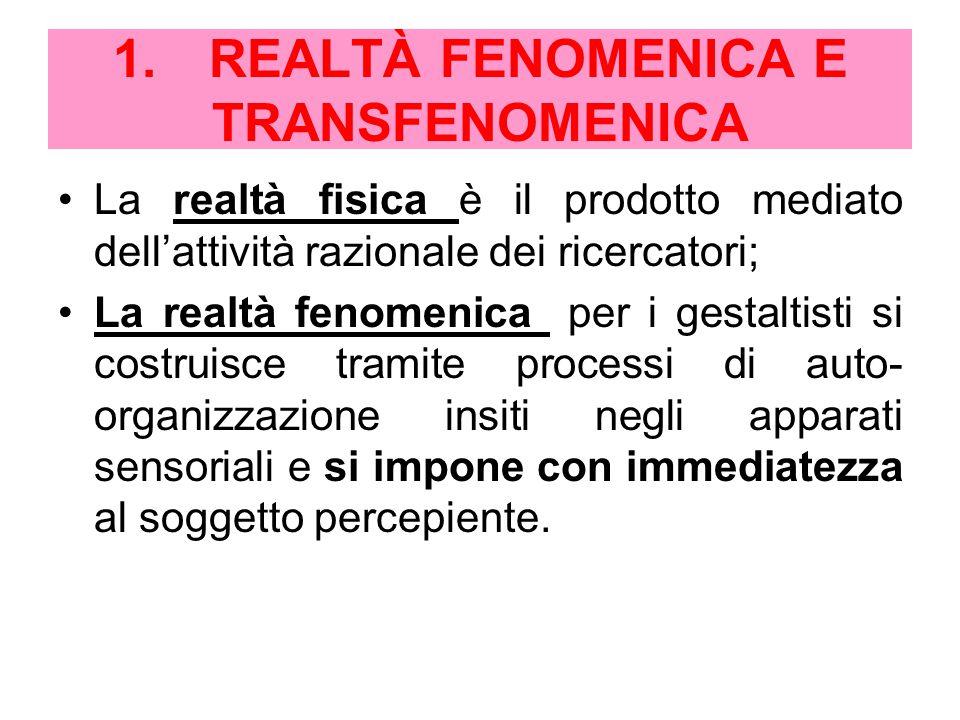 1.REALTÀ FENOMENICA E TRANSFENOMENICA La realtà fisica è il prodotto mediato dell'attività razionale dei ricercatori; La realtà fenomenica per i gestaltisti si costruisce tramite processi di auto- organizzazione insiti negli apparati sensoriali e si impone con immediatezza al soggetto percepiente.
