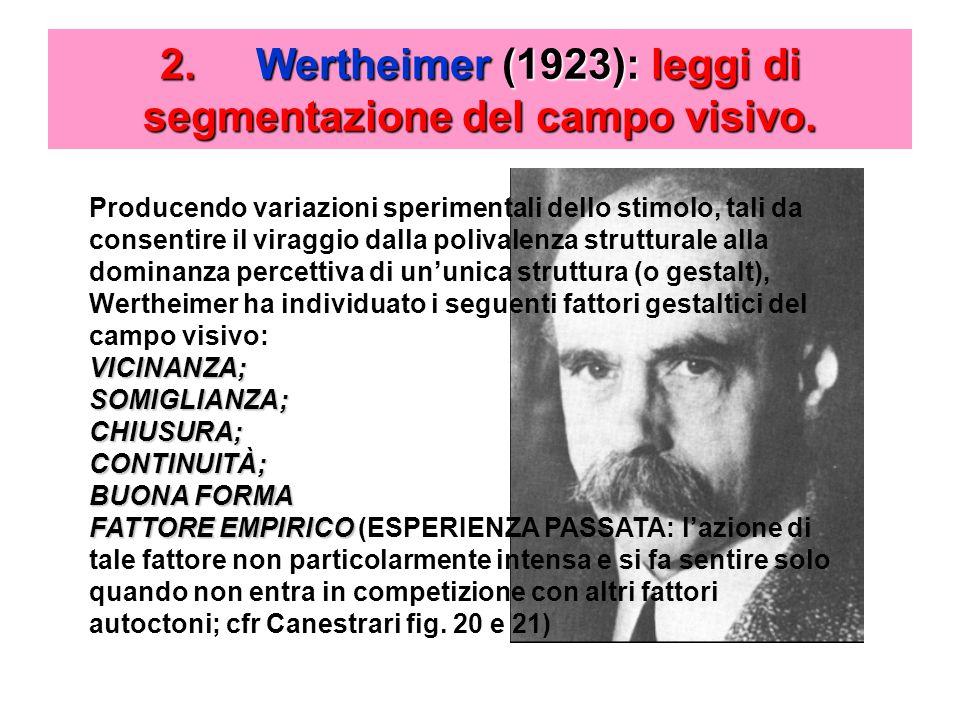 2.Wertheimer (1923): leggi di segmentazione del campo visivo.