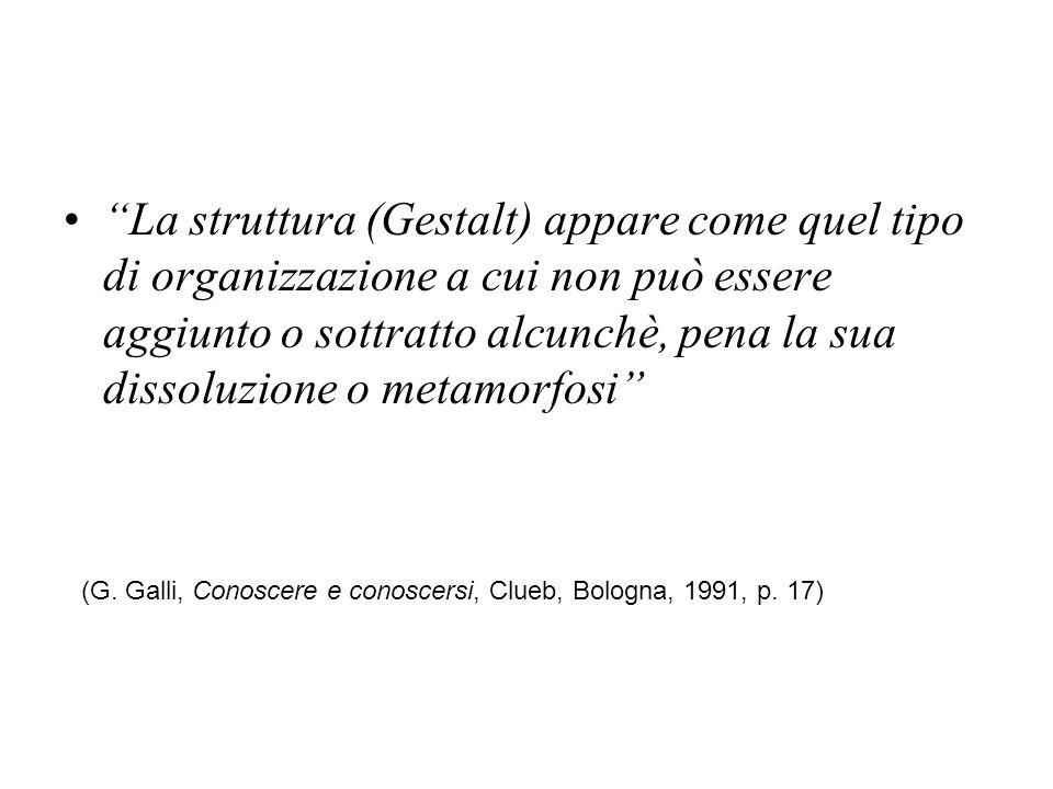 La struttura (Gestalt) appare come quel tipo di organizzazione a cui non può essere aggiunto o sottratto alcunchè, pena la sua dissoluzione o metamorfosi (G.