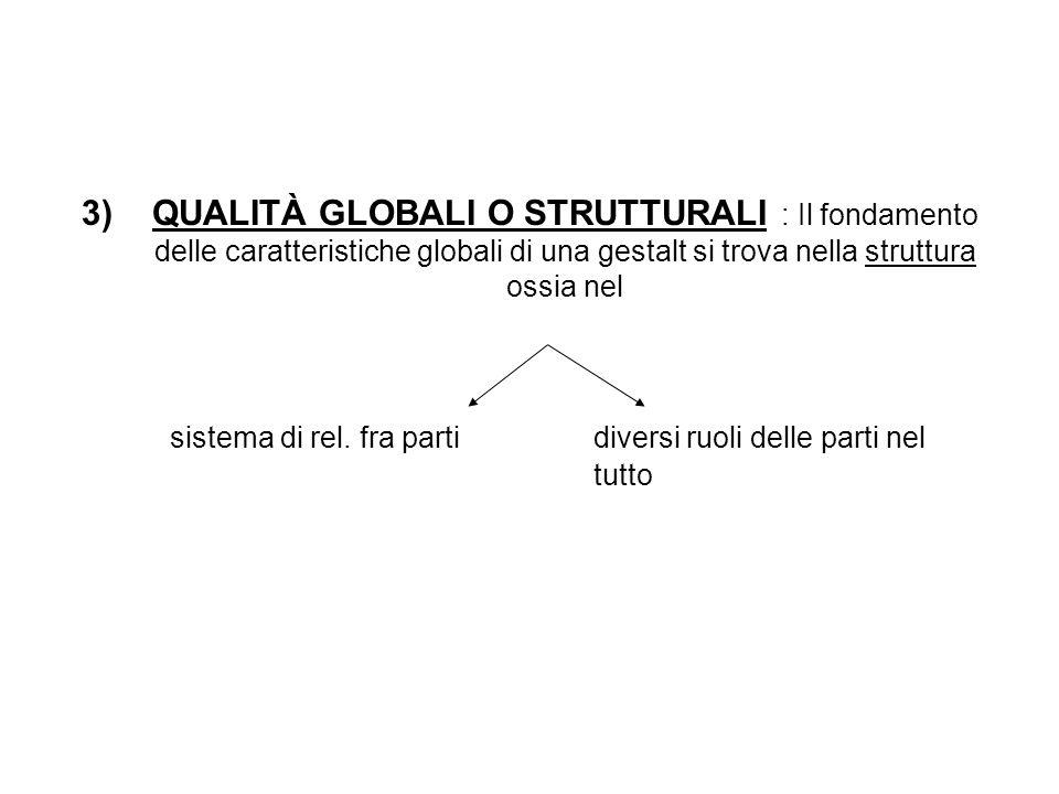 3)QUALITÀ GLOBALI O STRUTTURALI : Il fondamento delle caratteristiche globali di una gestalt si trova nella struttura ossia nel sistema di rel.