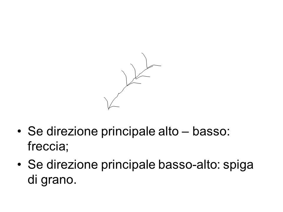 Se direzione principale alto – basso: freccia; Se direzione principale basso-alto: spiga di grano.
