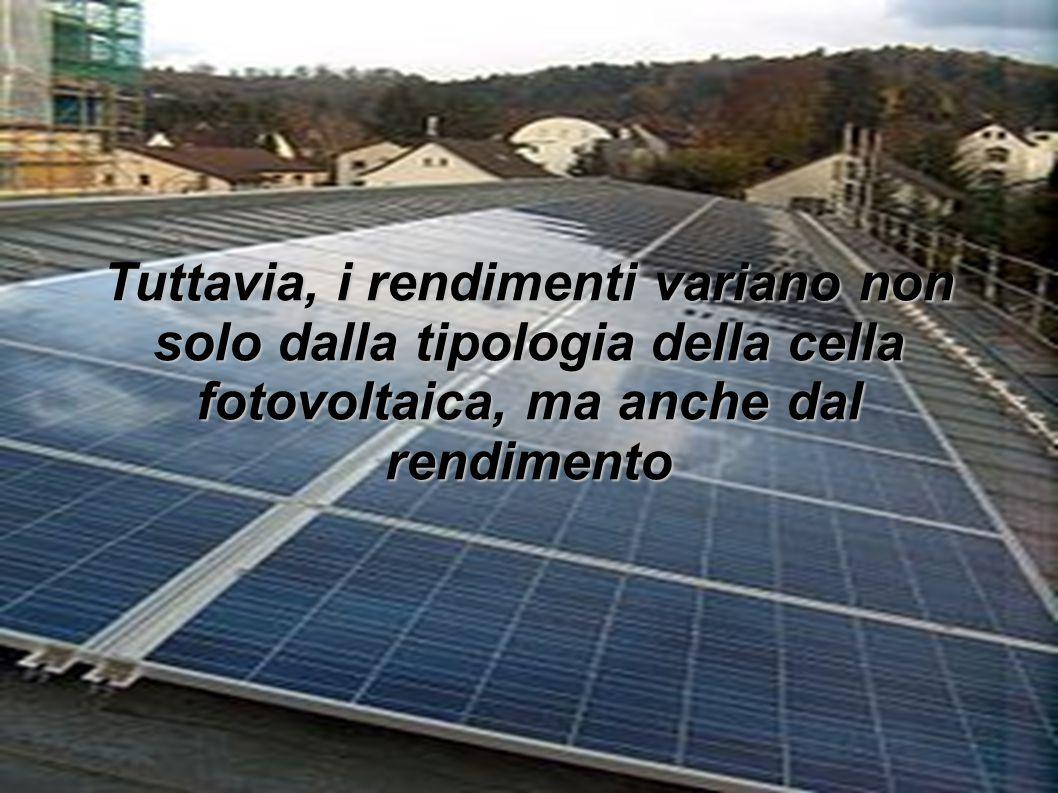 Tuttavia, i rendimenti variano non solo dalla tipologia della cella fotovoltaica, ma anche dal rendimento