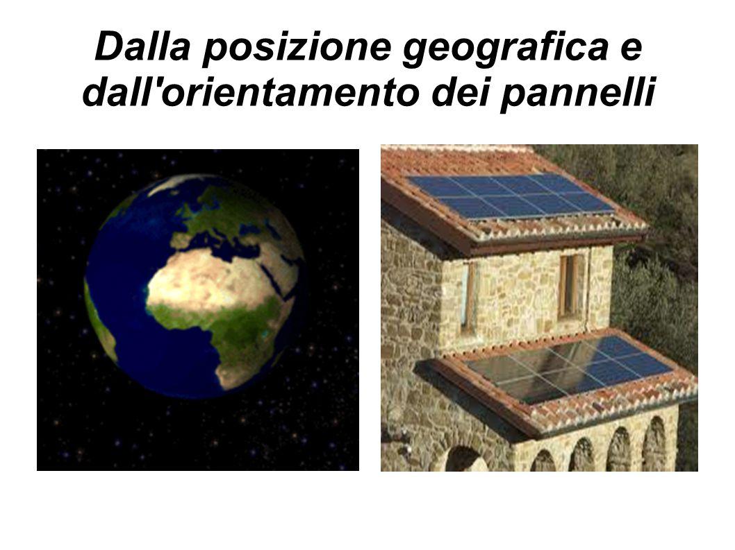 Dalla posizione geografica e dall'orientamento dei pannelli