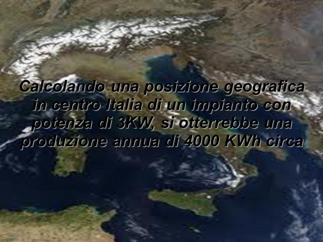 Calcolando una posizione geografica in centro Italia di un impianto con potenza di 3KW, si otterrebbe una produzione annua di 4000 KWh circa