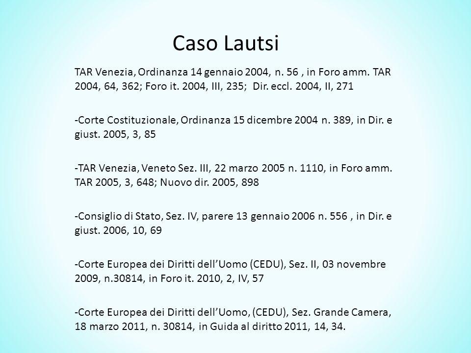 Caso Lautsi TAR Venezia, Ordinanza 14 gennaio 2004, n.