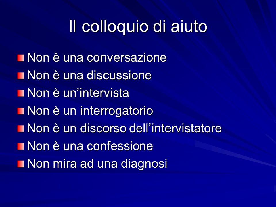 Il colloquio di aiuto Non è una conversazione Non è una discussione Non è un'intervista Non è un interrogatorio Non è un discorso dell'intervistatore