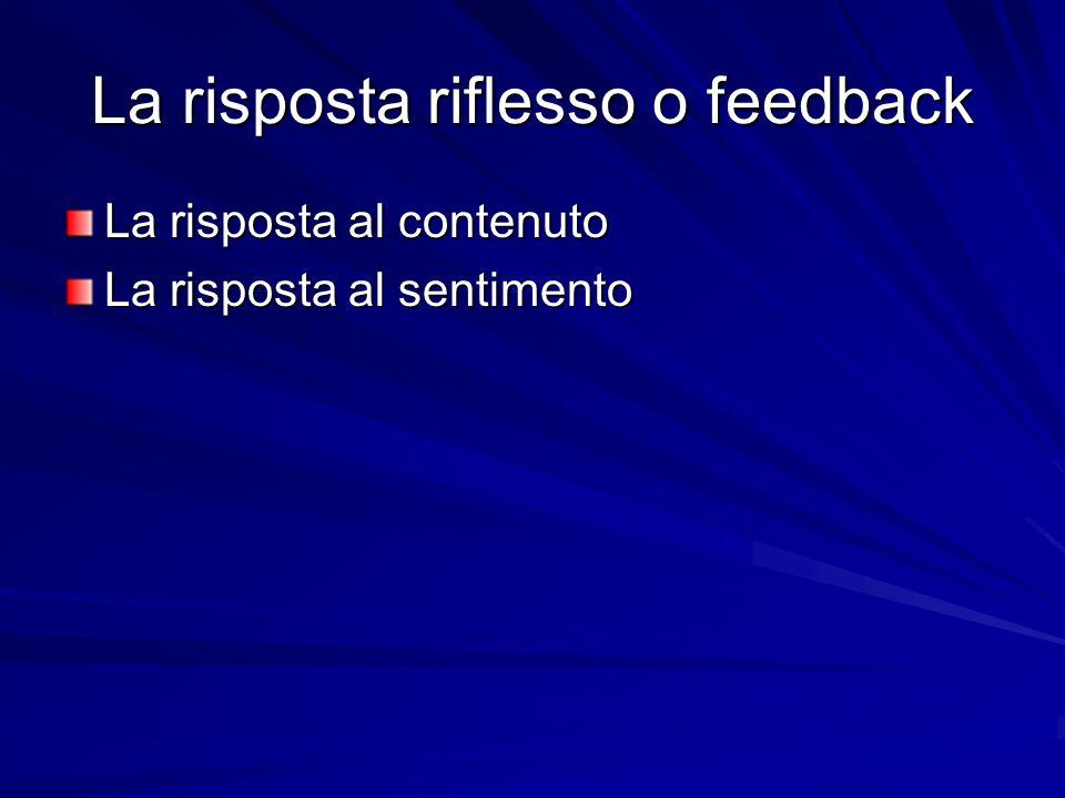 La risposta riflesso o feedback La risposta al contenuto La risposta al sentimento