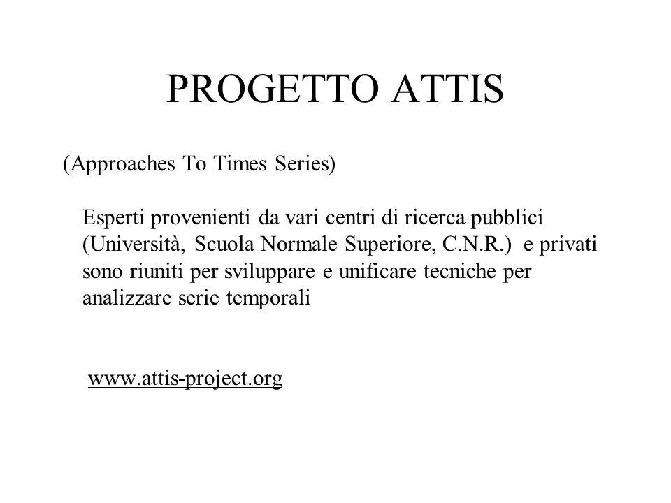 PROGETTO ATTIS (Approaches To Times Series) Esperti provenienti da vari centri di ricerca pubblici (Università, Scuola Normale Superiore, C.N.R.) e pr