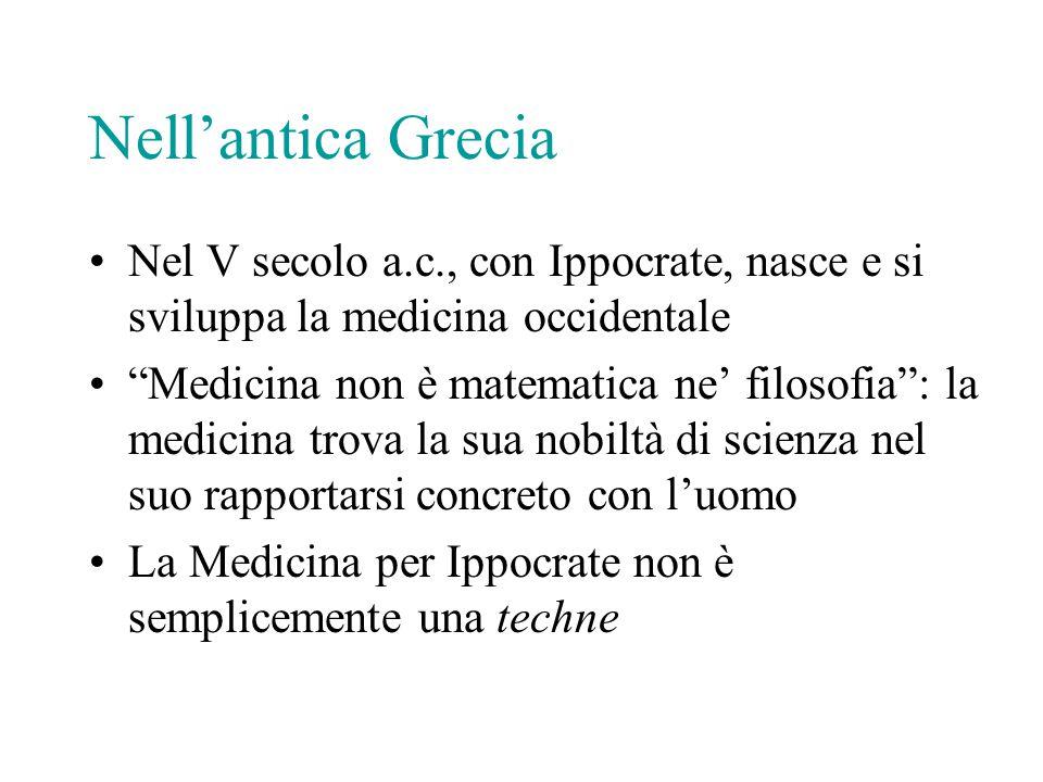 """Nell'antica Grecia Nel V secolo a.c., con Ippocrate, nasce e si sviluppa la medicina occidentale """"Medicina non è matematica ne' filosofia"""": la medicin"""