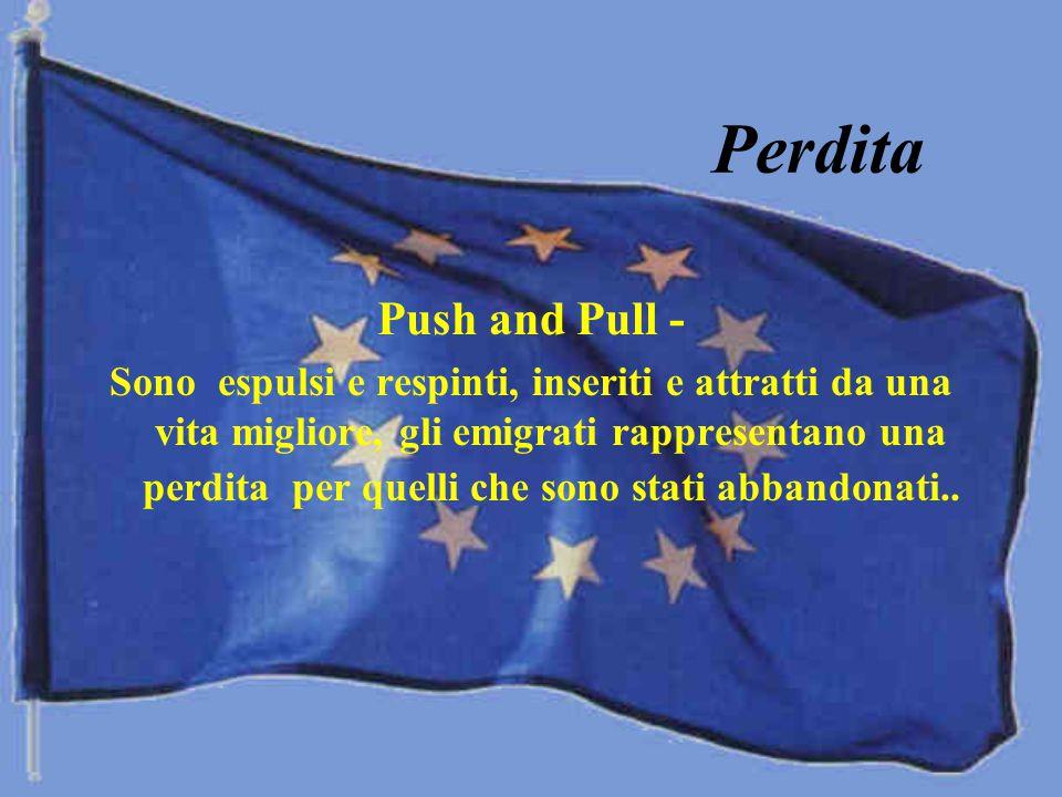 Perdita Push and Pull - Sono espulsi e respinti, inseriti e attratti da una vita migliore, gli emigrati rappresentano una perdita per quelli che sono stati abbandonati..