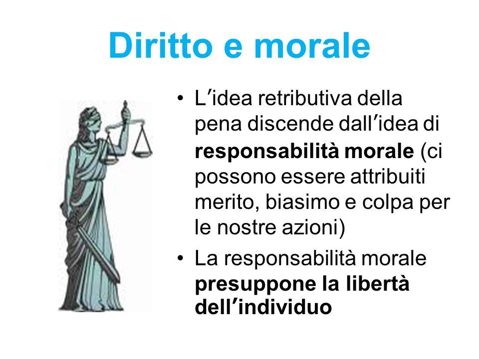 Diritto e morale L'idea retributiva della pena discende dall'idea di responsabilità morale (ci possono essere attribuiti merito, biasimo e colpa per l