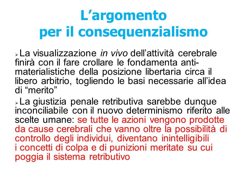 L'argomento per il consequenzialismo  La visualizzazione in vivo dell'attività cerebrale finirà con il fare crollare le fondamenta anti- materialisti