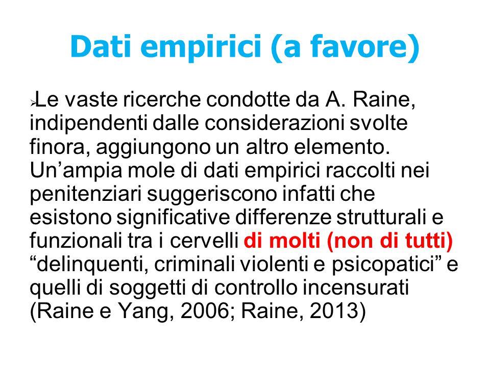 Dati empirici (a favore)  Le vaste ricerche condotte da A. Raine, indipendenti dalle considerazioni svolte finora, aggiungono un altro elemento. Un'a