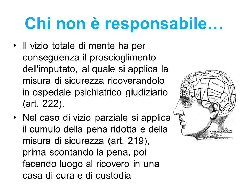 Chi non è responsabile… Il vizio totale di mente ha per conseguenza il proscioglimento dell'imputato, al quale si applica la misura di sicurezza ricov