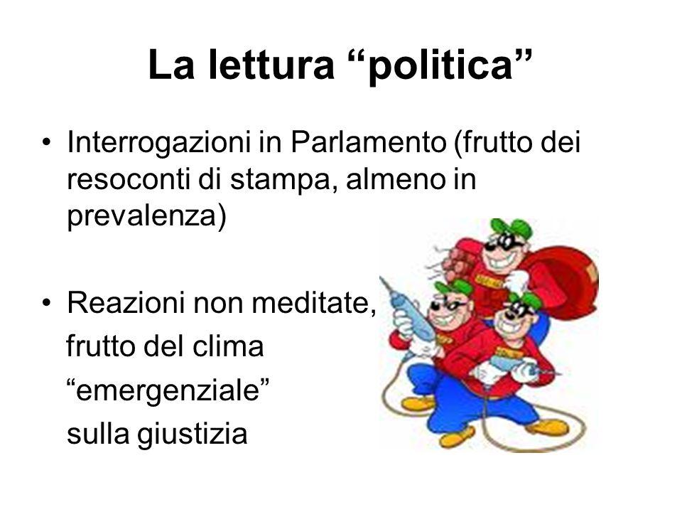 """La lettura """"politica"""" Interrogazioni in Parlamento (frutto dei resoconti di stampa, almeno in prevalenza) Reazioni non meditate, frutto del clima """"eme"""