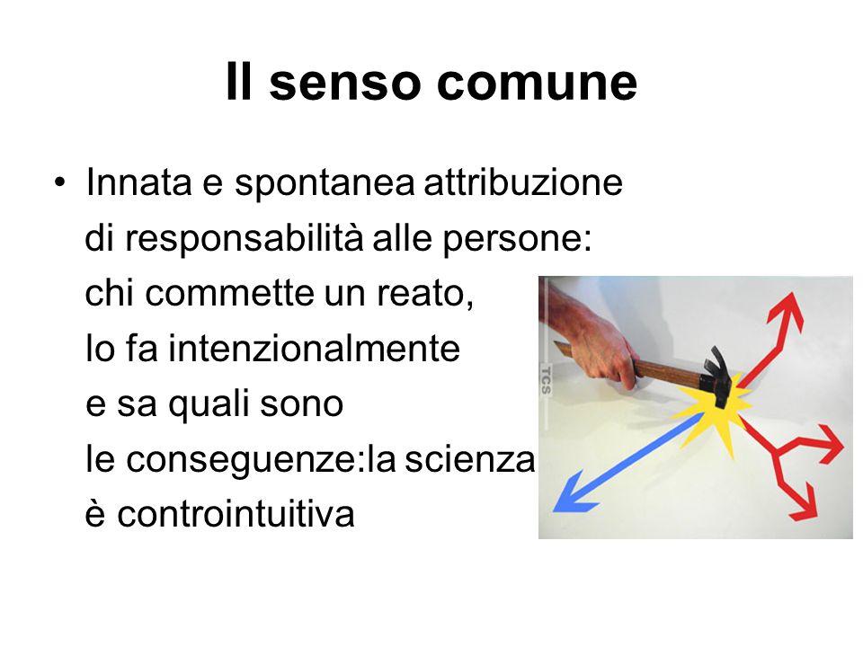 Il senso comune Innata e spontanea attribuzione di responsabilità alle persone: chi commette un reato, lo fa intenzionalmente e sa quali sono le conse