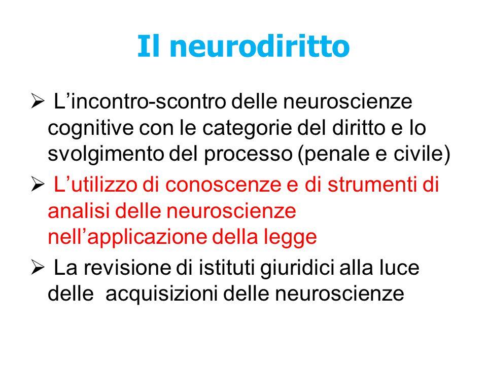 Il neurodiritto  L'incontro-scontro delle neuroscienze cognitive con le categorie del diritto e lo svolgimento del processo (penale e civile)  L'uti