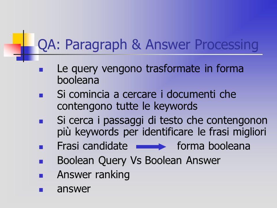 QA: Paragraph & Answer Processing Le query vengono trasformate in forma booleana Si comincia a cercare i documenti che contengono tutte le keywords Si cerca i passaggi di testo che contengonon più keywords per identificare le frasi migliori Frasi candidate forma booleana Boolean Query Vs Boolean Answer Answer ranking answer
