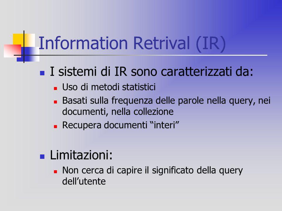Information Retrival (IR) I sistemi di IR sono caratterizzati da: Uso di metodi statistici Basati sulla frequenza delle parole nella query, nei documenti, nella collezione Recupera documenti interi Limitazioni: Non cerca di capire il significato della query dell'utente